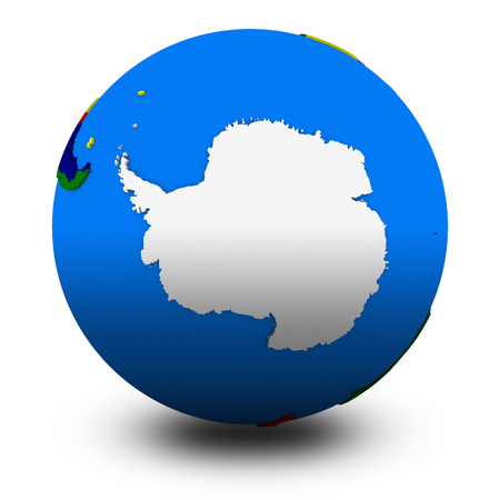 south pole: Antarctica on political globe, illustration isolated on white background with shadow
