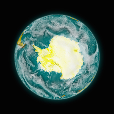background antarctica: Antarctica on blue planet Earth isolated on black background. Highly detailed planet surface. Elements of this image furnished by NASA.