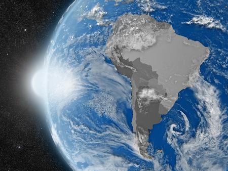 continente americano: Concepto del planeta Tierra vista desde el espacio, pero con las fronteras políticas encaminadas a continente suramericano