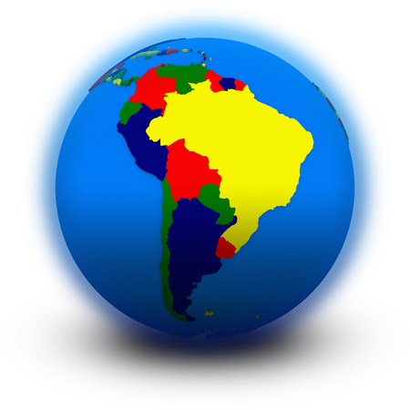 south america: south America on political globe, illustration isolated on white background