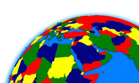 region: middle east region on globe, political map