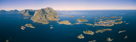 tourist destination: Breathtaking aerial panorama of fishing town Henningsvaer on Lofoten islands, popular tourist destination in Norway
