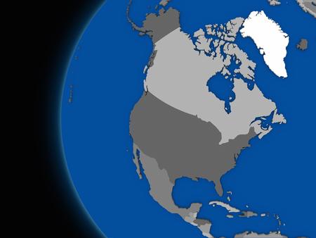 continente americano: Ilustración del continente de América del Norte en el globo político con fondo negro