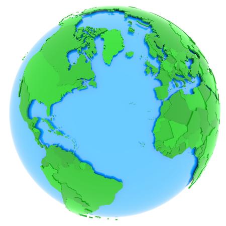 campestre: Mapa político de hemisferio occidental con los países en diferentes tonos de verde, aislado en fondo blanco.