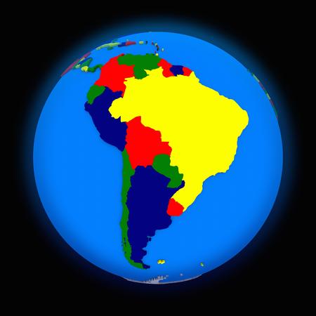 latin: south America on political globe on black background Stock Photo