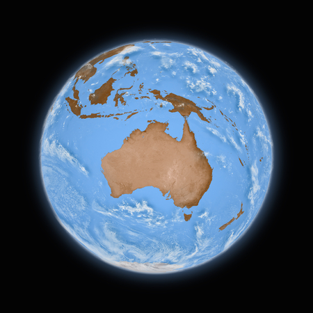 the blue planet: Australia on blue planet Earth isolated on black background. Highly detailed planet surface.