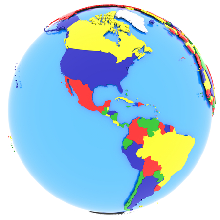 hemisphere: Political map of Western hemisphere with countries in four colours, isolated on white background.