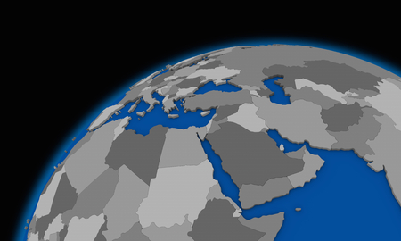 middle east: middle east region on planet Earth, political map