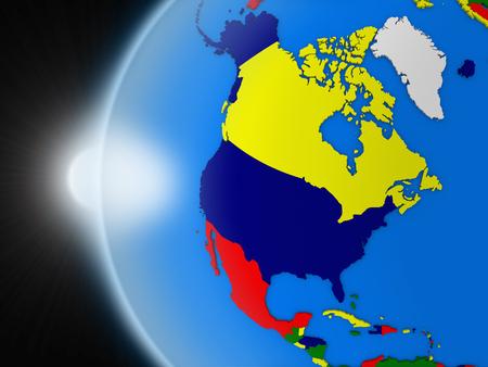 continente americano: Puesta de sol sobre el planeta Tierra como si se ve desde el espacio, pero con las fronteras políticas encaminadas a continente norteamericano