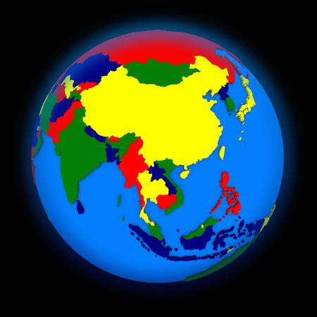 southeast asia: southeast Asia on political globe on black background Stock Photo