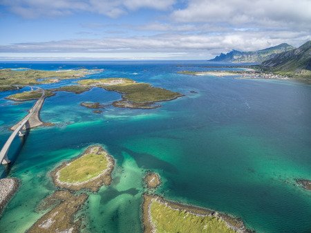 islets: Scenic view of islets on Lofoten islands in Norway Stock Photo