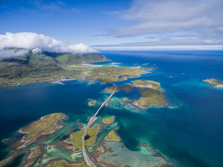 scenic landscapes: Scenic road bridges connecting islands on Lofoten in Norway, seen from air