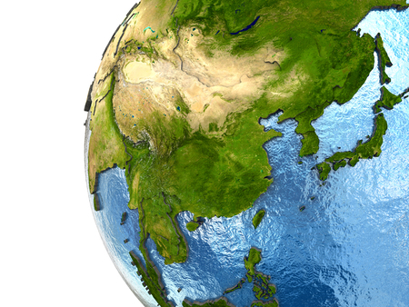 far east: Southeast Asia on highly detailed planet Earth with embossed continents and country borders