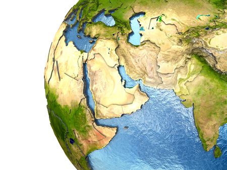 middle: Middle East on highly detailed planet Earth with embossed continents and country borders