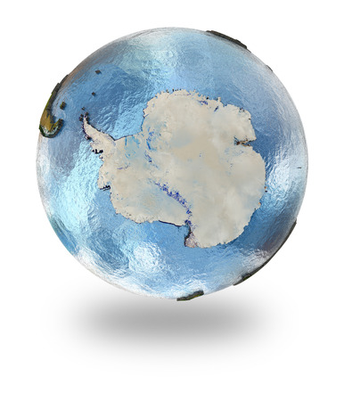background antarctica: Highly detailed planet Earth with embossed continents and visible country borders featuring Antarctica. Isolated on white background