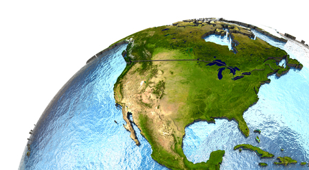 North America on highly detailed planet Earth with embossed continents and country borders
