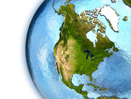 north america: Planet Earth with embossed continents and country borders. North America