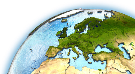 continents: Europe on planet Earth with embossed continents and country borders