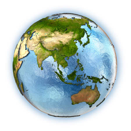 Planet Earth with embossed continents and country borders. southeast Asia Stock Photo
