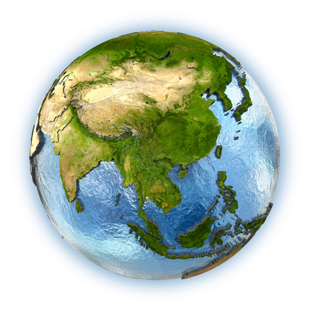 embossed: Planet Earth with embossed continents and country borders. southeast Asia Stock Photo