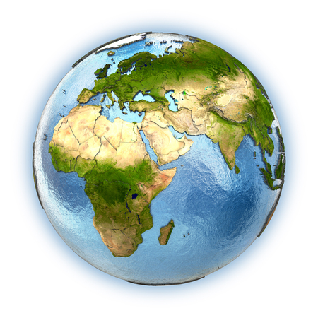 middle air: Planet Earth with embossed continents and country borders. Europe and Africa Stock Photo