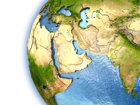 middle air: Planet Earth with embossed continents and country borders. Middle East