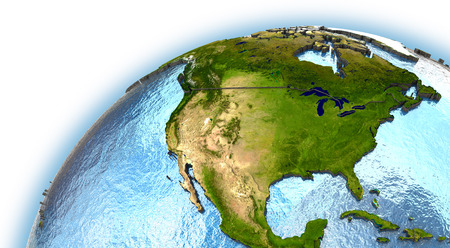 north america: North America on planet Earth with embossed continents and country borders