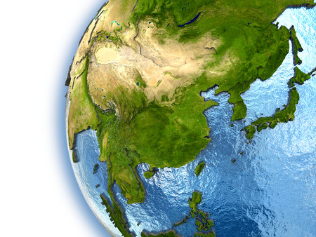 far east: Planet Earth with embossed continents and country borders. Southeast Asia