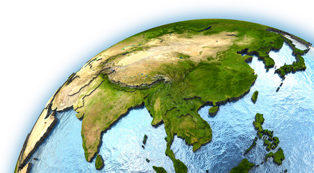 southeast Asia on planet Earth with embossed continents and country borders Stock Photo