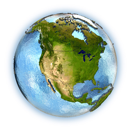 north america: Planet Earth with embossed continents and country borders. North America. Isolated on white background