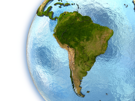 Planet Earth with embossed continents and country borders. South America