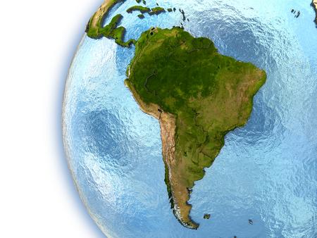 south america: Tierra del planeta con los continentes en relieve y las fronteras del pa�s. Am�rica del sur