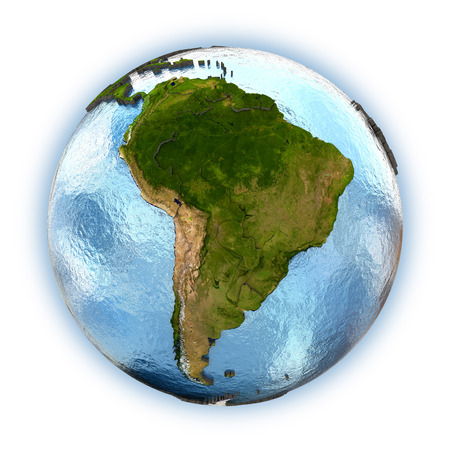 and south: Planet Earth with embossed continents and country borders. South America