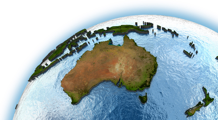 world: Australia on planet Earth with embossed continents and country borders Stock Photo