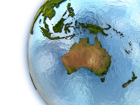 the continents: Planet Earth with embossed continents and country borders. Australia Stock Photo