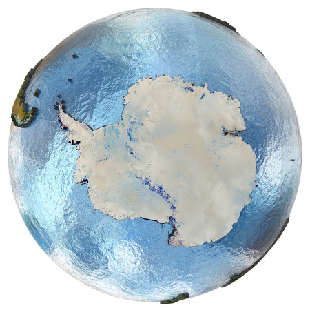 background antarctica: Antarctica on highly detailed planet Earth with embossed continents and country borders. Isolated on white background.