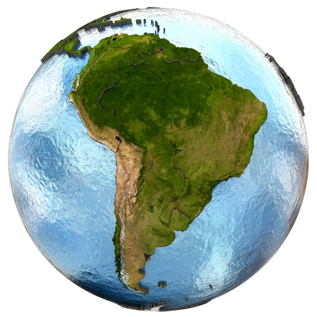 South America on highly detailed planet Earth with embossed continents and country borders. Isolated on white background.