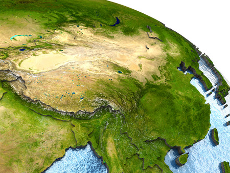 China on highly detailed planet Earth with embossed continents and country borders.