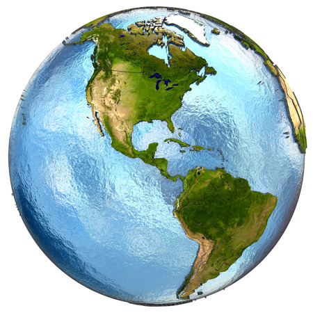 north america: America on highly detailed planet Earth with embossed continents and country borders. Isolated on white background.   Stock Photo