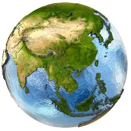 southeast asia: Southeast Asia on highly detailed planet Earth with embossed continents and country borders. Isolated on white background.   Stock Photo