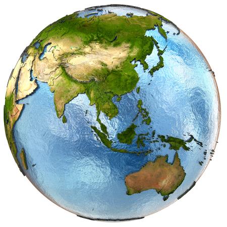 wereldbol: Zuidoost-Azië op zeer gedetailleerde planeet Aarde met reliëf continenten en landsgrenzen. Geïsoleerd op een witte achtergrond. Elementen van deze afbeelding geleverd door NASA.