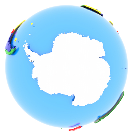 antarctic: Antarctic on the globe in white, isolated on white background.