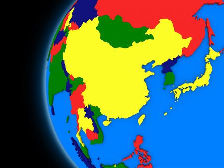 Chinese map: Ilustraci�n de este regi�n de Asia en el globo pol�tico con fondo negro