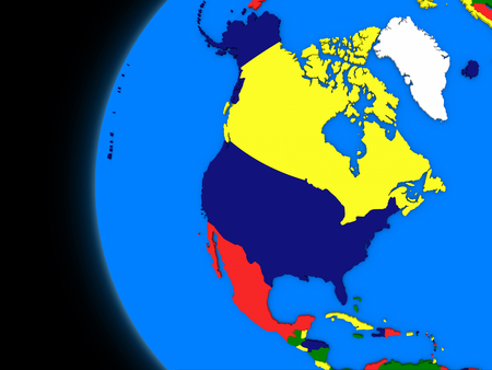 continente americano: Illustration of north american continent on political globe with black background Foto de archivo