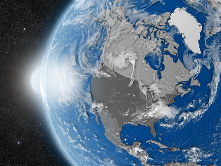 continente americano: Concept of planet Earth as seen from space but with political borders aimed at north american continent
