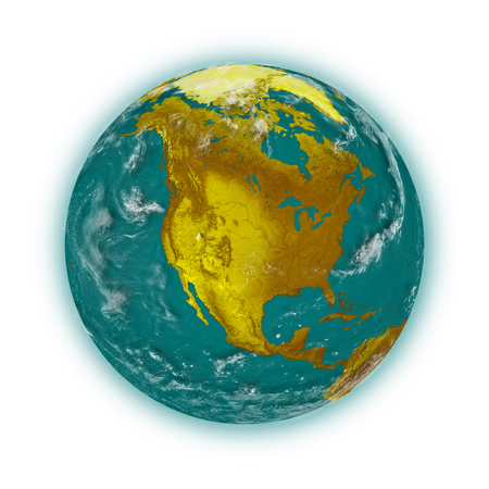 the blue planet: North America on blue planet Earth isolated on white background. Highly detailed planet surface.