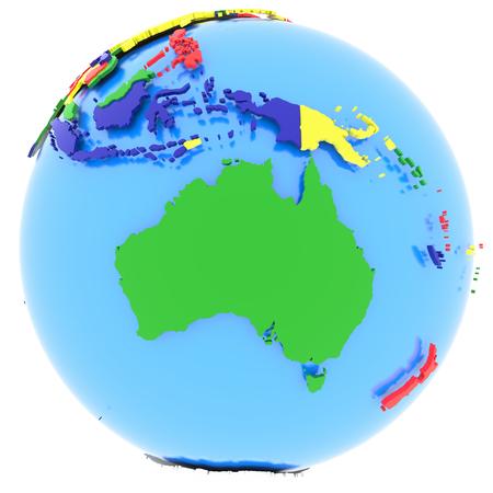 globo terraqueo: Australia, mapa pol�tico del mundo con los pa�ses en cuatro colores, aislado en fondo blanco. Foto de archivo