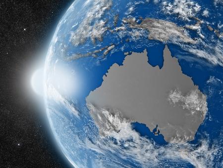 mapa conceptual: Concepto del planeta Tierra vista desde el espacio, pero con las fronteras pol�ticas encaminadas a continente australiano Foto de archivo