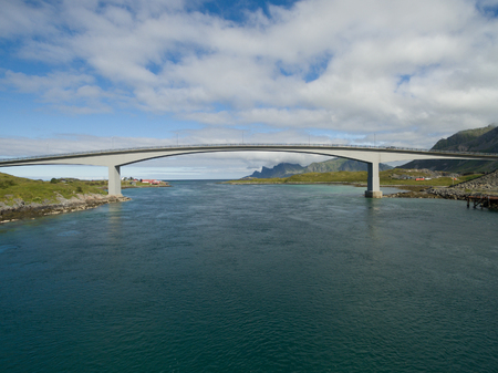 fjord: Modern bridge spanning narrow fjord in Norway