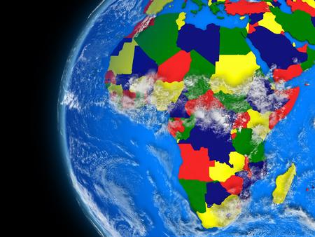 conceptual maps: Ilustraci�n del continente africano en el globo pol�tico con caracter�sticas atmosf�ricas y las nubes